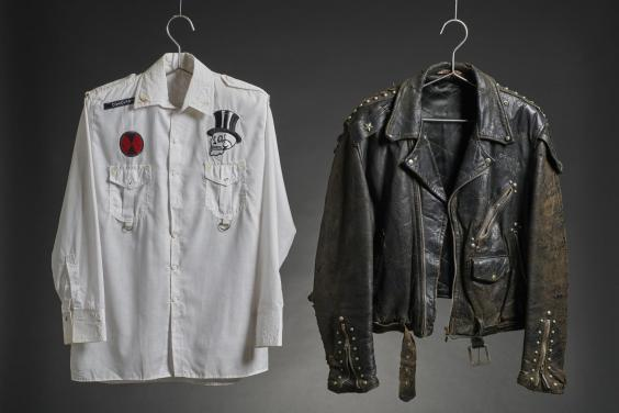White shirt and leather jacket worn by The Clash, on display at the Museum of London (The Clash)