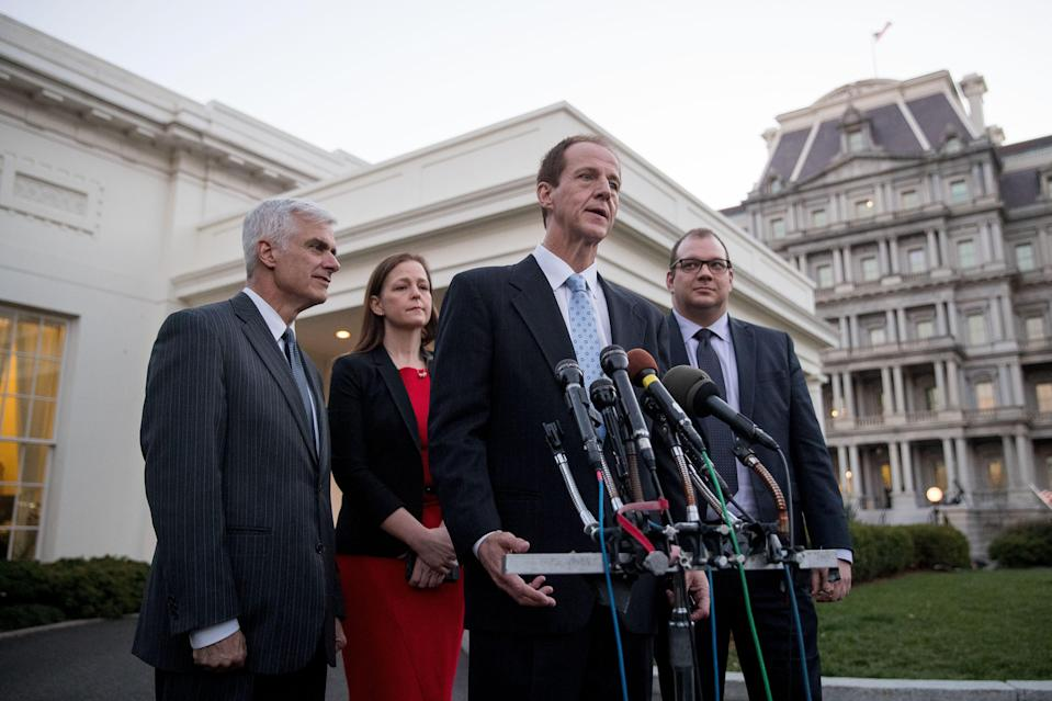 From left, Club for Growth President David McIntosh, Tea Party Patriots President Jenny Beth Martin, Americans for Prosperity President Tim Phillips and FreedomWorks President Adam Brandon give statements outside the West Wing on March 8, 2017, after meeting with President Trump.