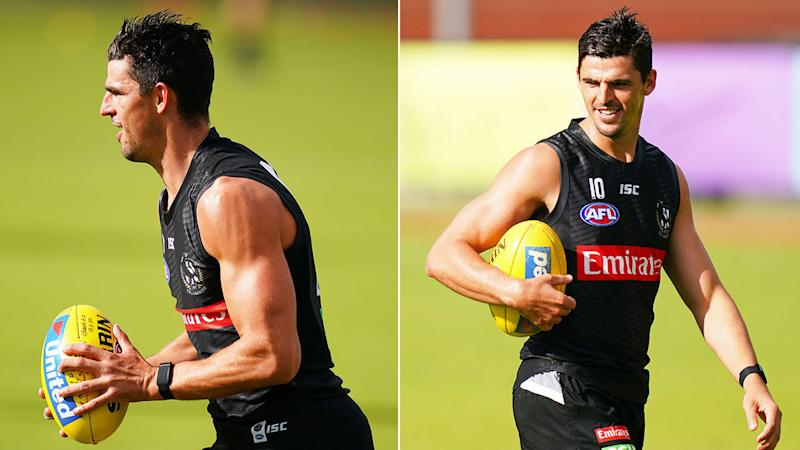 Seen here, cleared Collingwood captain Scott Pendlebury has returned to Magpies training.