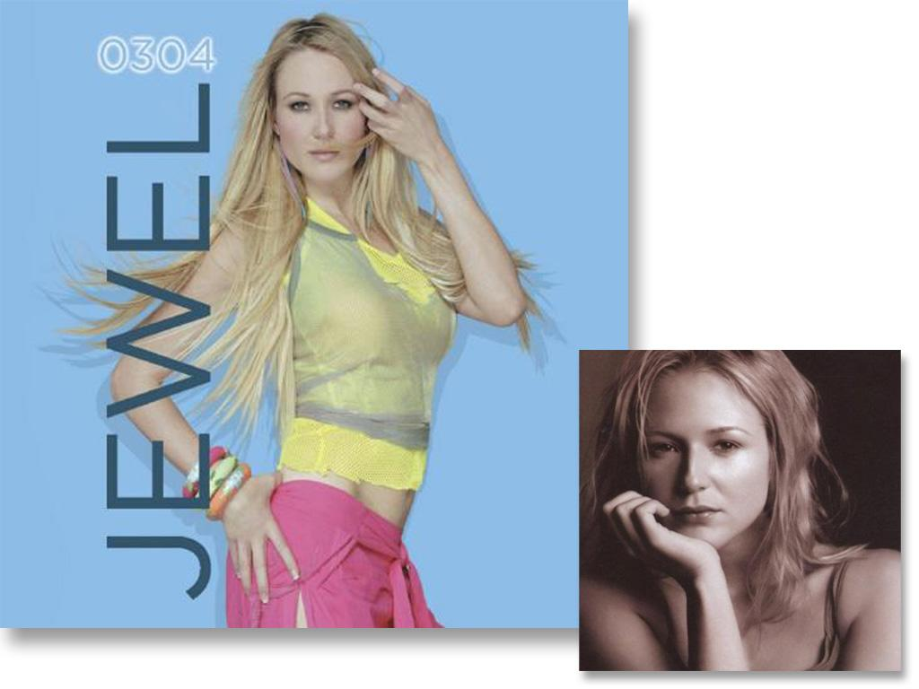 On Jewel's fourth album, 0304, she traded her signature folk-pop tunes for dance tracks and won critical acclaim. The public embraced her new, vibrant look as well. Jewel looks ready to party on the 0304 cover, a major upgrade from the stripped down natural artwork for 1998's Spirit.