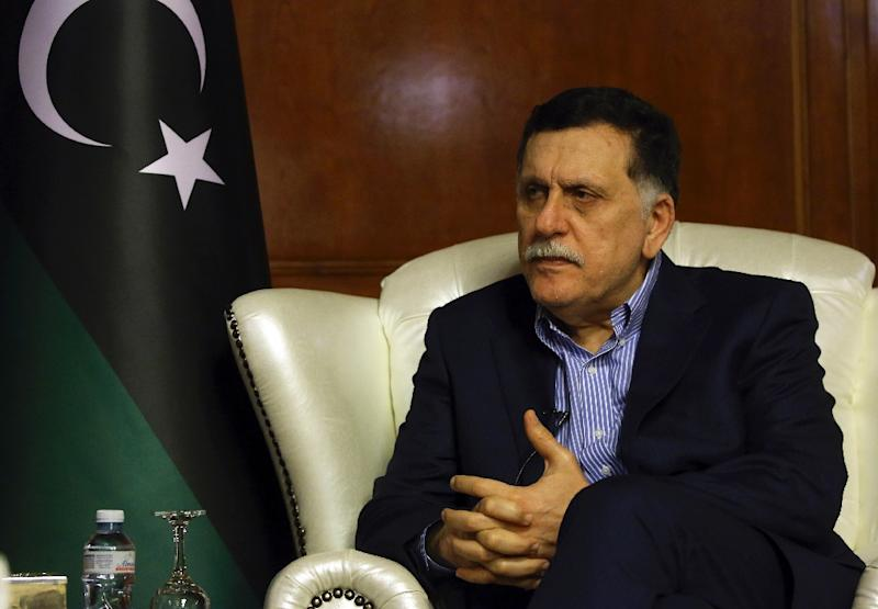 The head of Libya's Government of National Accord Fayez al-Sarraj speaks during an interview with AFP in Tripoli on November 8, 2018 (AFP Photo/Mahmud TURKIA)