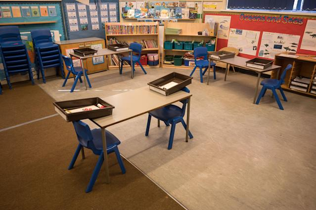 Seating rearranged two metres apart at Marsden Infant and Nursery School in Marsden, near Huddersfield, on Monday. (AFP via Getty Images)
