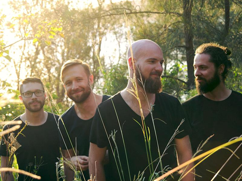 sleepmakeswaves, from left to right, Otto Wicks-Green (guitar), Daniel Orekovic (guitar) Alex Wilson (bass, keys, electronics) and Tim Adderley (drums)