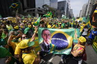 Supporters of Brazilian President Jair Bolsonaro gather on Independence Day in Sao Paulo, Brazil, Tuesday, Sept. 7, 2021. (AP Photo/Andre Penner)