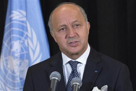 French FM Fabius during news conference at U.N. Assembly in New York