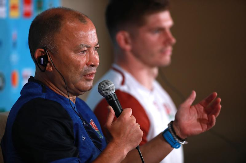 TOKYO, JAPAN - OCTOBER 31: Eddie Jones, (L) the England head coach, faces the media with his captain, Owen Farrell during the England team announcement on October 31, 2019 in Tokyo, Japan. (Photo by David Rogers/Getty Images)