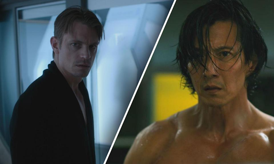 Joel Kinnaman and Will Yun Lee play Takeshi Kovacs in Altered Carbon (Netflix)