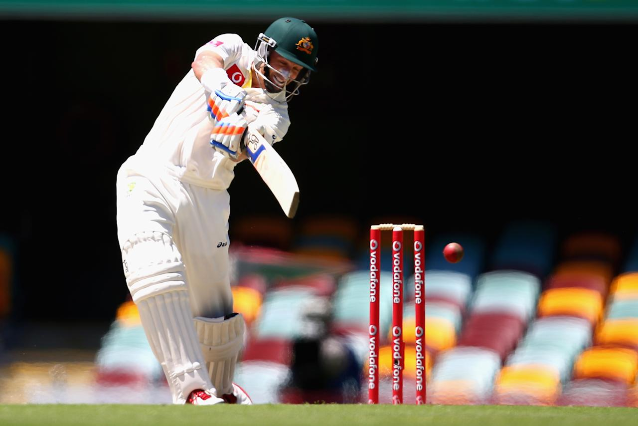 BRISBANE, AUSTRALIA - NOVEMBER 13: Michael Hussey of Australia bats during day five of the First Test match between Australia and South Africa at The Gabba on November 13, 2012 in Brisbane, Australia.  (Photo by Ryan Pierse/Getty Images)