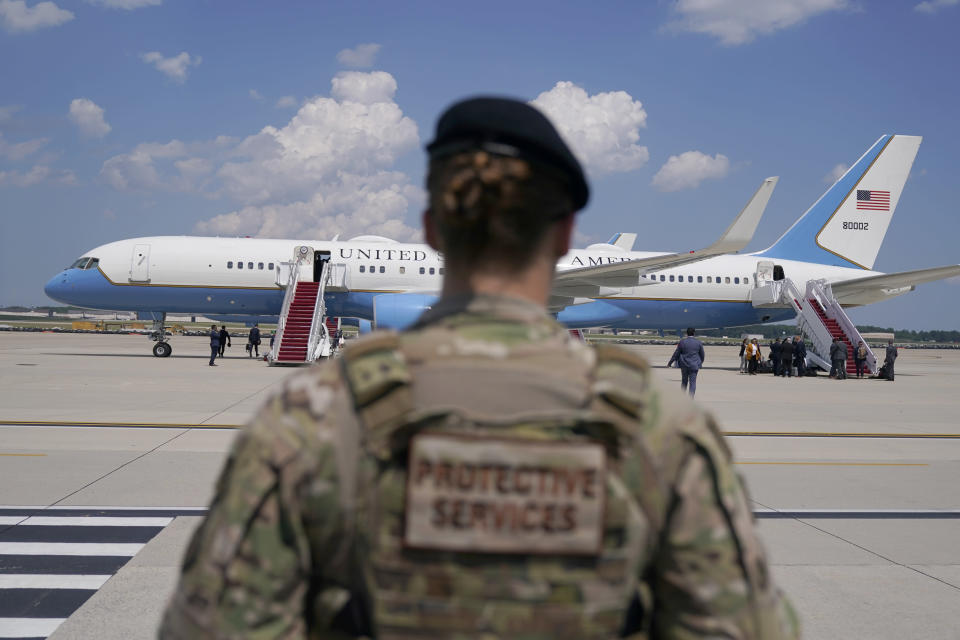 A soldier stands guard after Vice President Kamala Harris deplaned Air Force Two when a technical issue forced the aircraft to return and land at Andrews Air Force Base, Md., Sunday, June 6, 2021, as she was en route to Guatemala City. (AP Photo/Jacquelyn Martin)