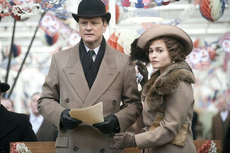 Actors Colin Firth and Helena Bonham Carter as King George VI and Queen Elizabeth in The King's Speech