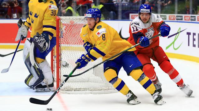 Toronto Maple Leafs defenceman Rasmus Sandin was named the best defenceman at the 2020 World Juniors. (Peter Kovalev\TASS via Getty Images)