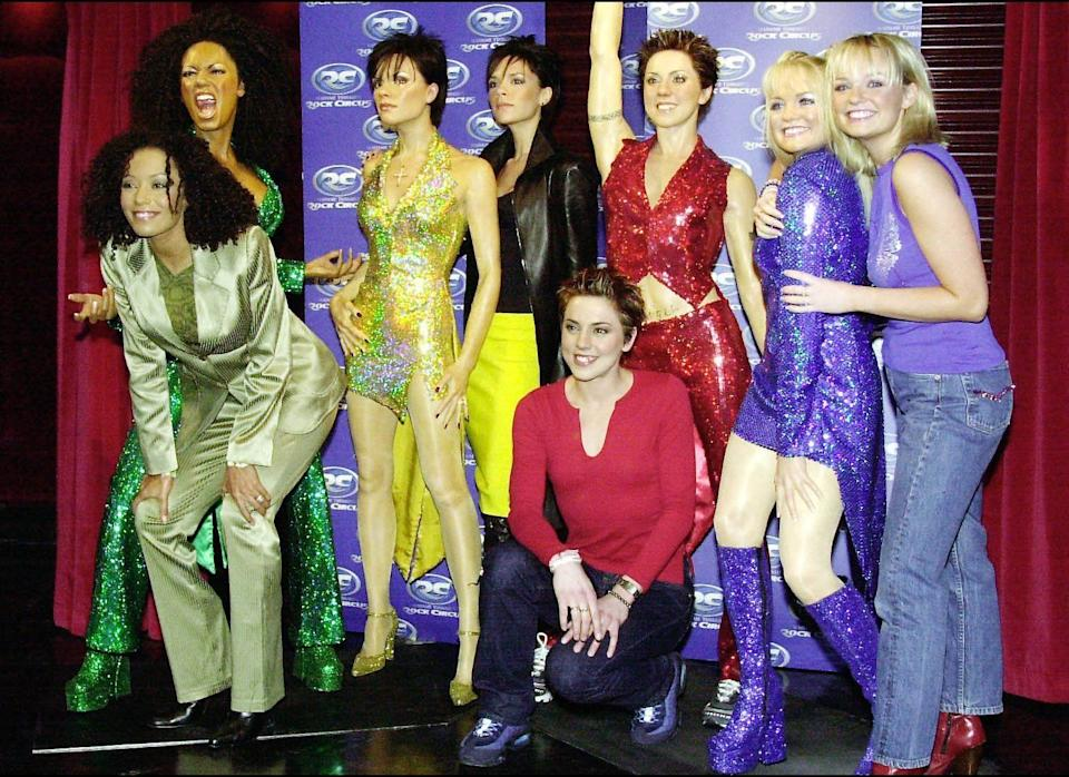 <strong>1999</strong>  Mel G, Victoria Beckham, Mel C and Emma Bunton, the Spice Girls, withtheir wax doubles at Madame Tussaud