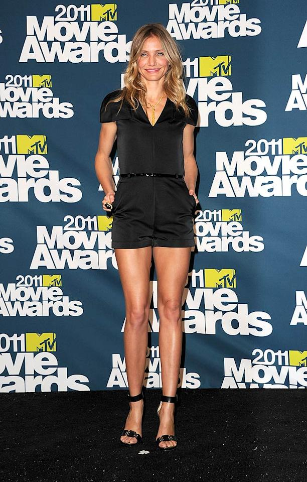 """Cameron Diaz didn't walk the red carpet at last weekend's MTV Movie Awards, but she made up for it by posing backstage at the annual event in a skimpy 3.1 Phillip Lim playsuit, black patent leather belt, and sky-high Lanvin sandals. Jason Merritt/<a href=""""http://www.gettyimages.com/"""" target=""""new"""">GettyImages.com</a> - June 5, 2011"""