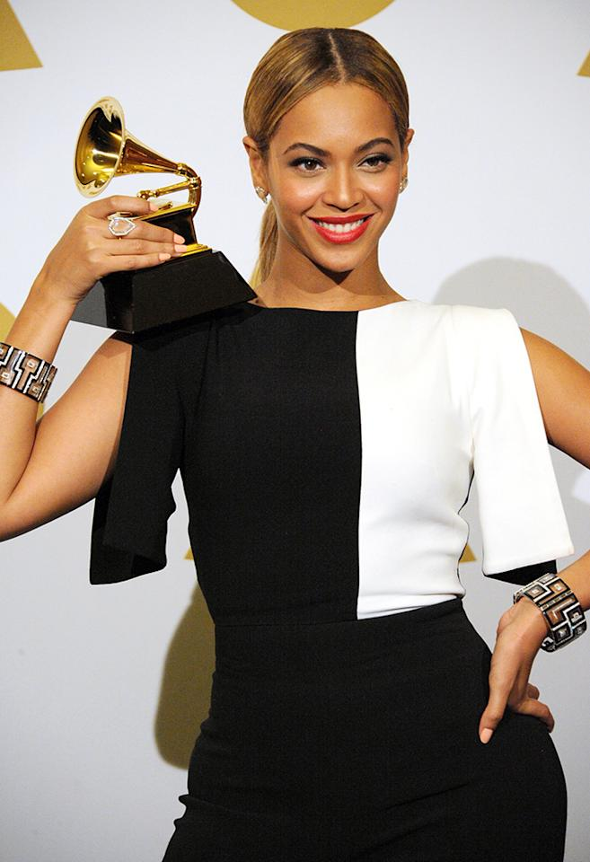 Beyonce poses in the press room during the 55th Annual GRAMMY Awards at STAPLES Center on February 10, 2013 in Los Angeles, California.  (Photo by Steve Granitz/WireImage)