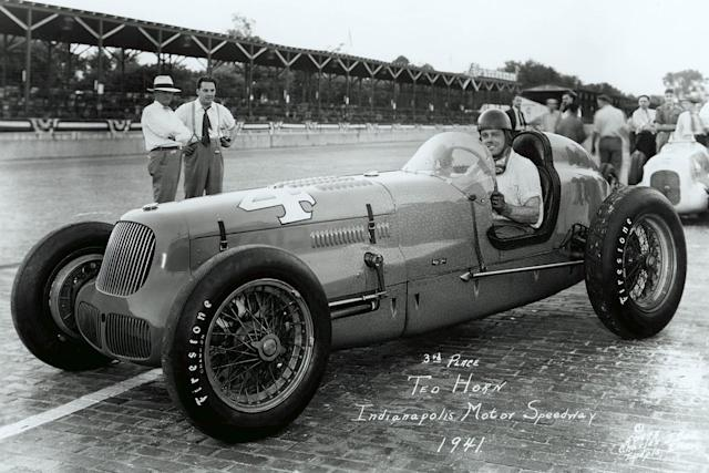 """One of the few times Horn felt intimidated was trying to manhandle the powerful but difficult Joel Thorne-owned Adam/Sparks beast in practice and qualifying in 1941. Of course he adapted, and on race day climbed from 28th on the grid to finish third. <span class=""""copyright"""">Indianapolis Motor Speedway</span>"""