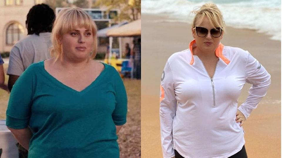 Rebel found fame playing 'Fat Amy' on Pitch Perfect (left) but is now focusing on her own fitness goals. Photo: Gold Circle/ Instagram