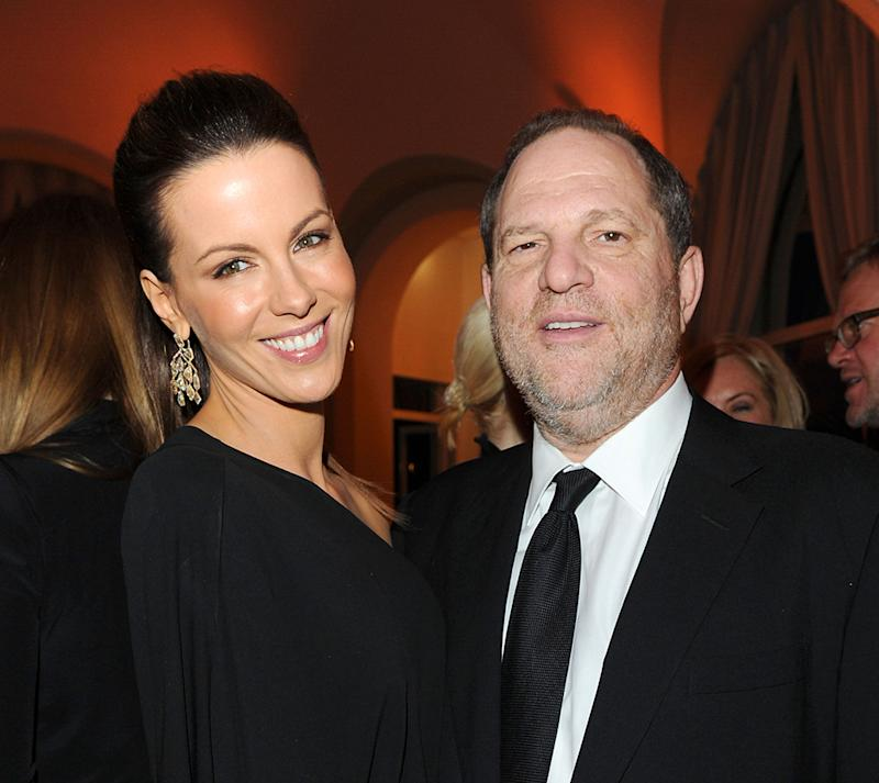 Kate Beckinsale spoke out about an obscene Harvey Weinstein rant in 2001. Here they are at an event at the Cannes Film Festival in May 2010. (Photo: WireImage for Gucci)