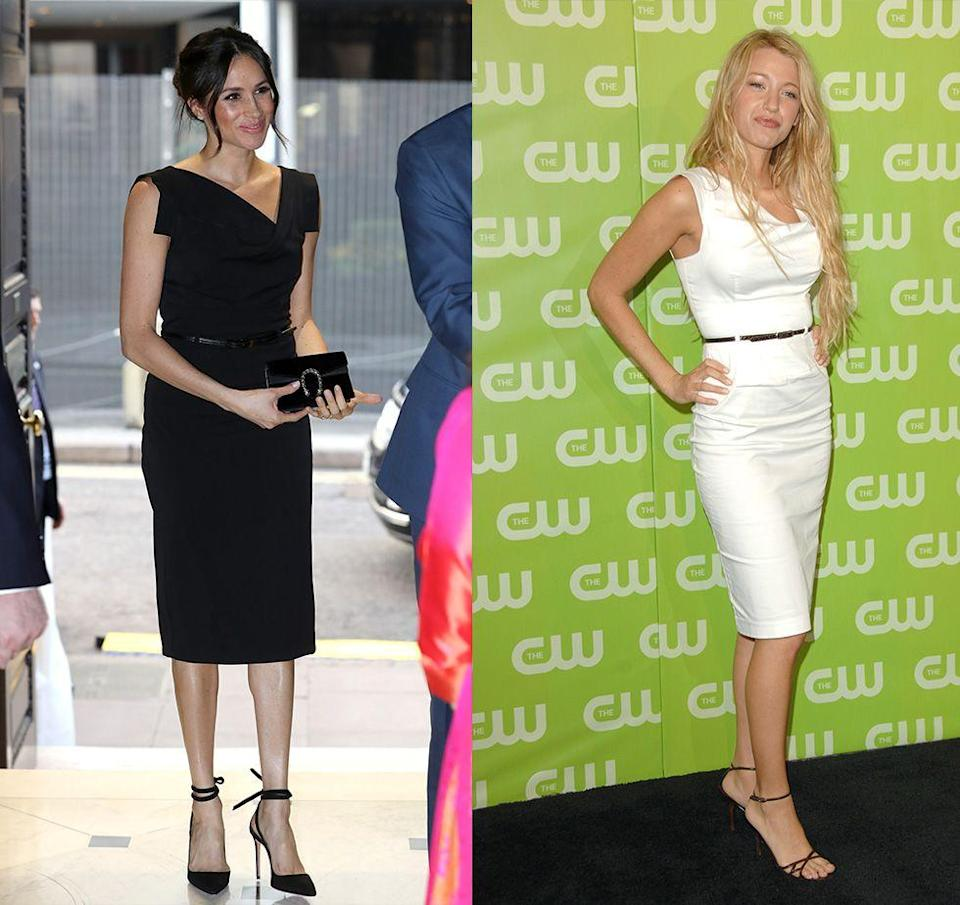 <p>Meghan Markle is no stranger to the red carpet, so it's not a huge coincidence that the same Black Halo dress she wore to a Women's Empowerment reception in 2018 was also worn by Blake Lively to a CW event in 2007. Is this stylish belted dress, dare we say, a pre-royal clothing item?</p>