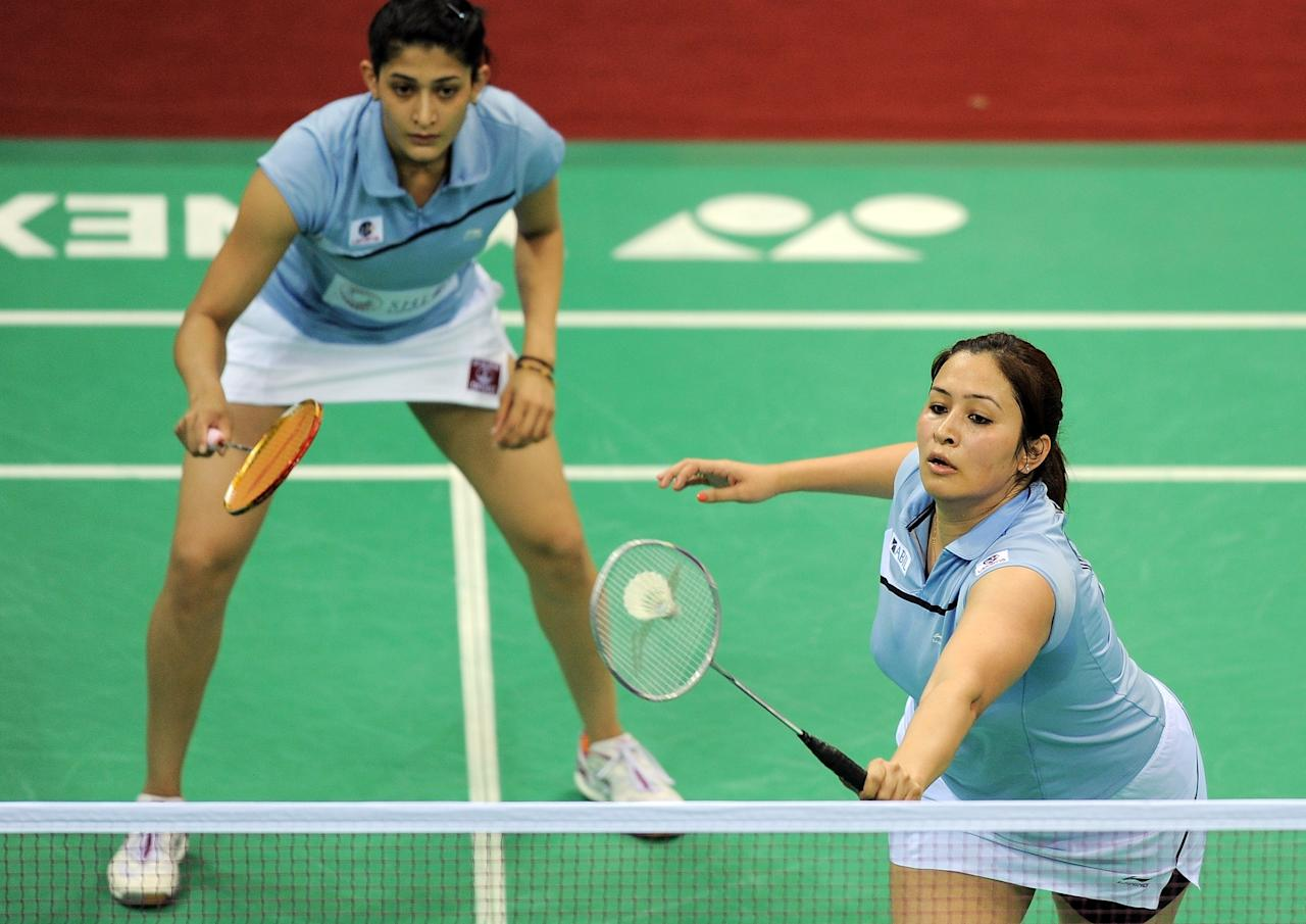Indian Badminton players Jwala Gutta (R)
