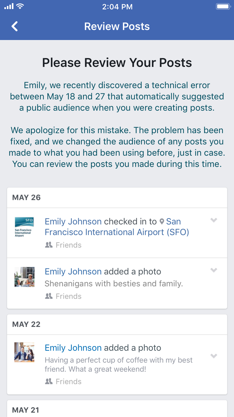 An example of the notification affected users would get from Facebook. (Facebook)