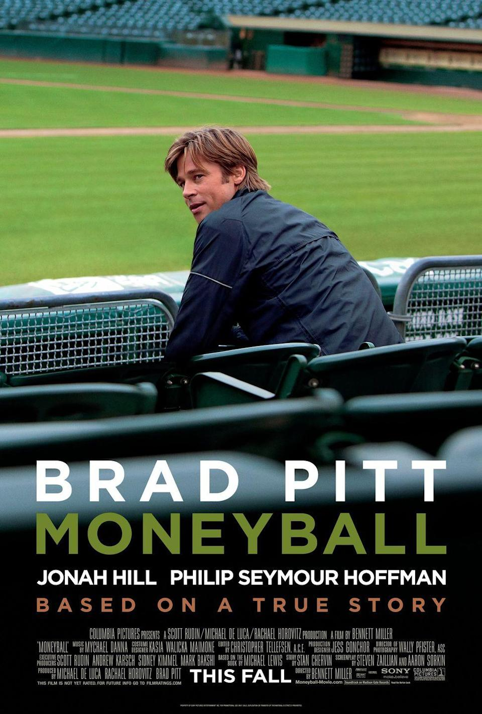 """<p><a class=""""link rapid-noclick-resp"""" href=""""https://www.amazon.com/Moneyball-Brad-Pitt/dp/B006IMY5ZU/ref=sr_1_1?dchild=1&keywords=moneyball&qid=1614179723&sr=8-1&tag=syn-yahoo-20&ascsubtag=%5Bartid%7C10067.g.15907978%5Bsrc%7Cyahoo-us"""" rel=""""nofollow noopener"""" target=""""_blank"""" data-ylk=""""slk:Watch Now"""">Watch Now</a></p><p>Based on Michael Lewis's 2003 book, <em>Moneyball</em> tells the story of how the Oakland A's general manager Billy Beane (played Brad Pitt), joins forces with Ivy Leaguer Peter Brand (played by Jonah Hill) to transform the struggling team despite its limited budget. By using a """"sabermetric"""" approach to scouting players (basically shifting focus to cold hard statistics), the two pull together an underdog team of game winners. </p>"""