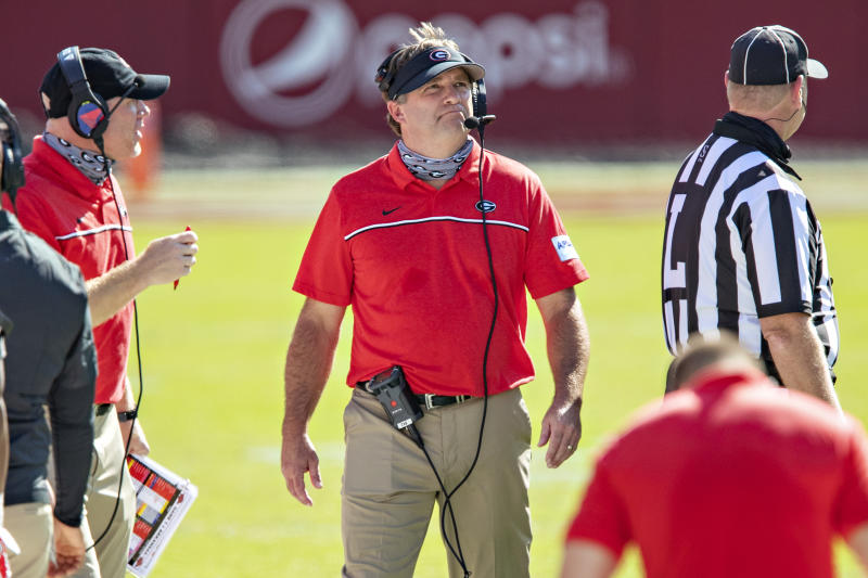 FAYETTEVILLE, AR - SEPTEMBER 26: Head Coach Kirby Smart of the Georgia Bulldogs on the sidelines during a game against the Arkansas Razorbacks at Razorback Stadium on September 26, 2020 in Fayetteville, Arkansas The Bulldogs defeated the Razorbacks 37-10. (Photo by Wesley Hitt/Getty Images)