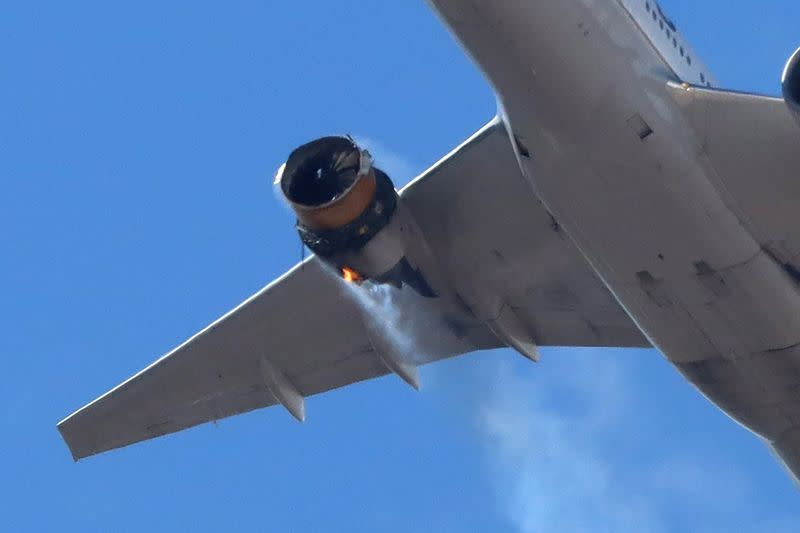 United Airlines flight UA328 returns to Denver International Airport with its starboard engine on fire after it called a Mayday alert