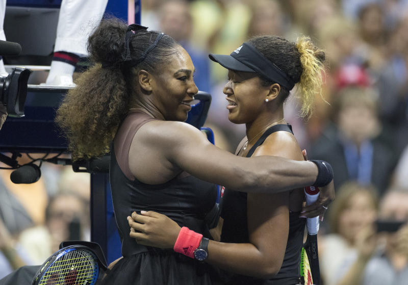 Serena Williams congratulates Japanese tennis player Naomi Osaka on her win [Photo: Getty]