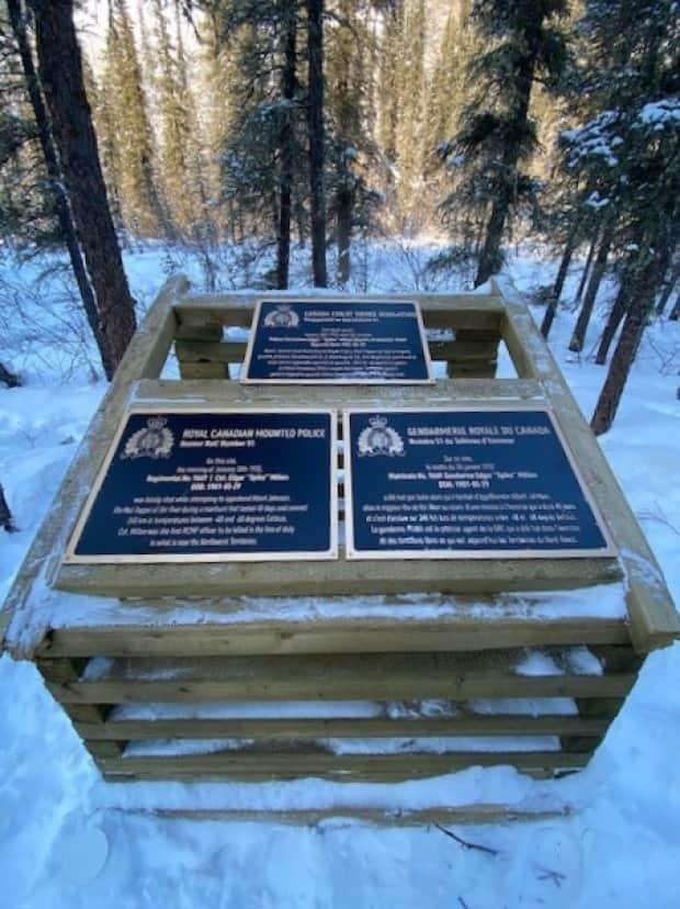 Accessible by snowmobile, the refurbished Millen Cairn holds plaques in English, French and Gwich'in.