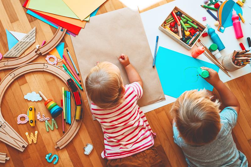 Kids draw and make crafts. Background for preschool and kindergarten or art classes.