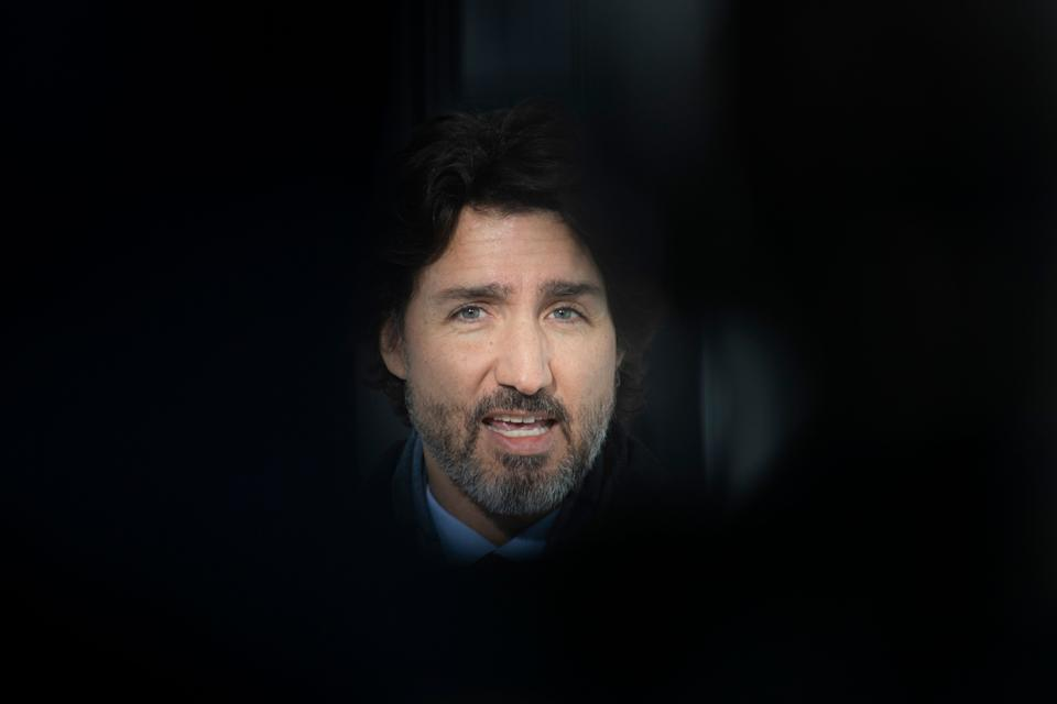 Prime Minister Justin Trudeau delivers his opening remarks at a news conference outside Rideau cottage in Ottawa on Jan. 19, 2021.  (Photo: CP/Adrian Wyld)