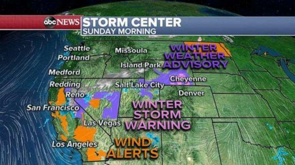 PHOTO: there are some snow showers from Idaho to California with areas of limited visibility and slippery travel. As this storm system starts sliding south today, both precipitation and winds will increase from California to Wyoming. (ABC News)
