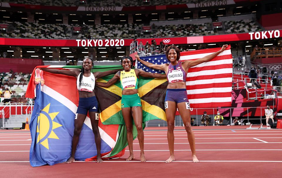 Christine Mboma won silver for Namibia and USA's Gabrielle Thomas took bronze (Getty Images)