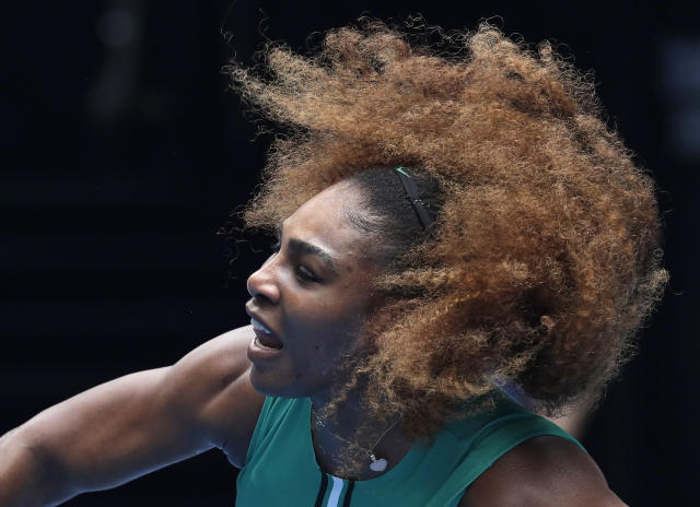 United States' Serena Williams serves to Germany's Tatjana Maria during their first round match at the Australian Open tennis championships in Melbourne, Australia, Tuesday, Jan. 15, 2019. (AP Photo/Kin Cheung)