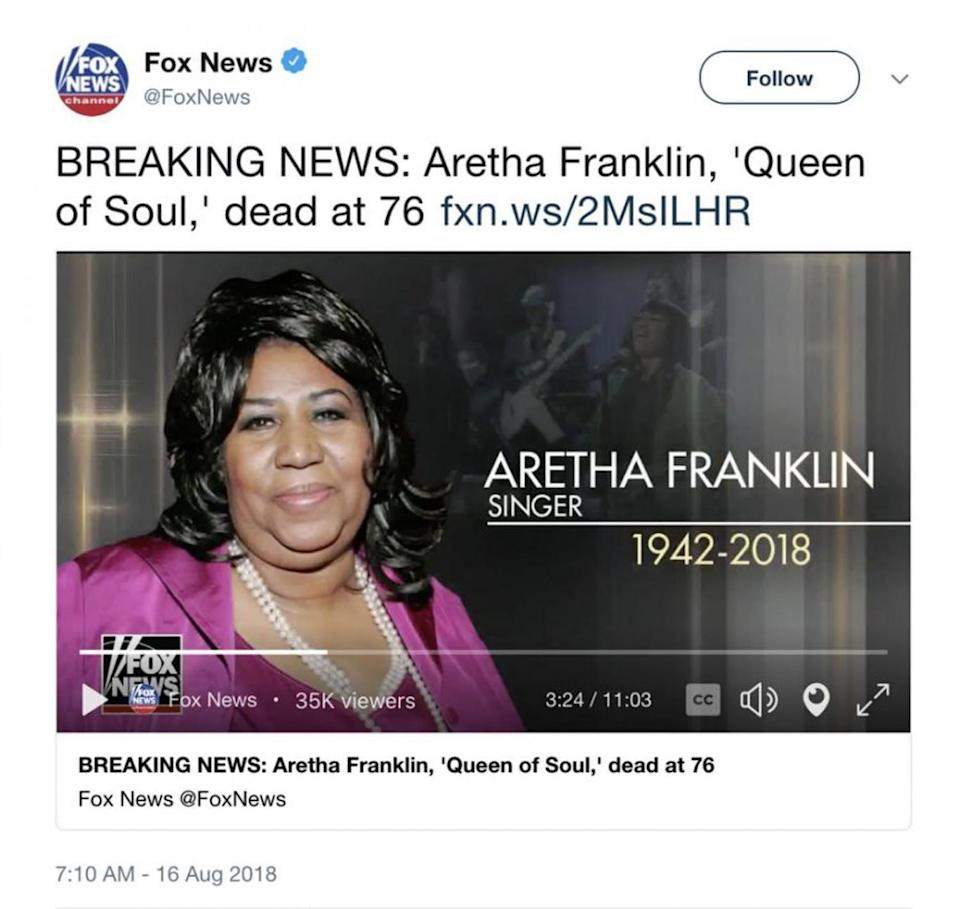 Mistake: Fox News used a picture of Patti LaBelle on an Aretha Franklin tribute (Twitter/ Fox News)
