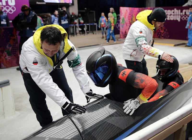 Strong Germans not up to speed in Olympic bobsled