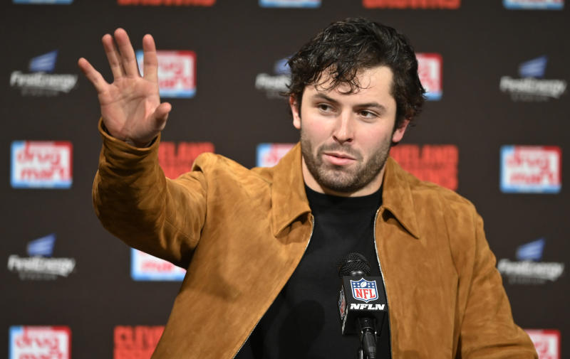 Cleveland Browns quarterback Baker Mayfield said he'll kneel during the national anthem this season. (AP Photo/David Richard)