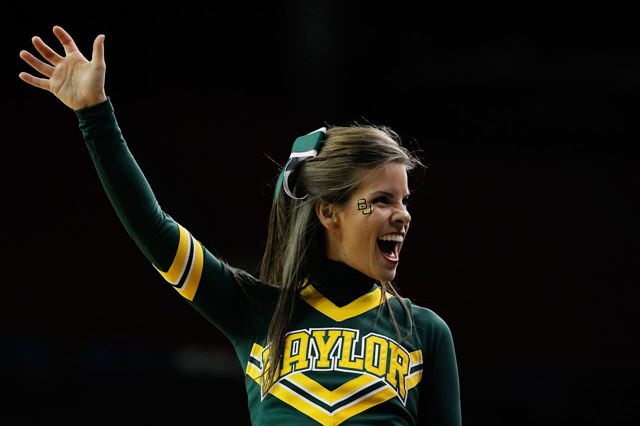 ATLANTA, GA - MARCH 23:  A Baylor Bears cheerleader performs in the first half against the Xavier Musketeers during the 2012 NCAA Men's Basketball South Regional Semifinal game at the Georgia Dome on March 23, 2012 in Atlanta, Georgia.  (Photo by Kevin C. Cox/Getty Images)