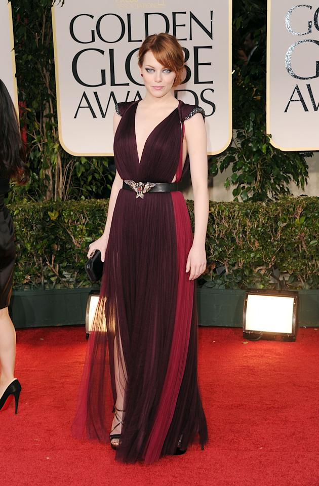 BEVERLY HILLS, CA - JANUARY 15:  Actress Emma Stone arrives at the 69th Annual Golden Globe Awards held at the Beverly Hilton Hotel on January 15, 2012 in Beverly Hills, California.  (Photo by Jason Merritt/Getty Images)
