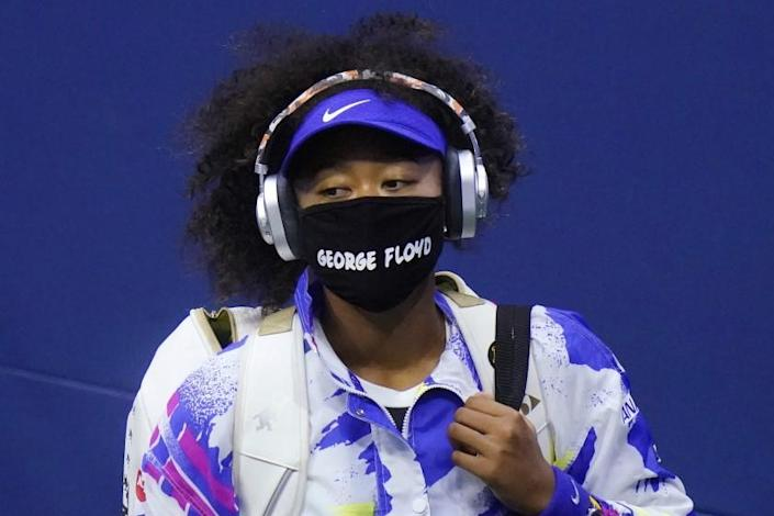 FILE - In this Sept. 8, 2020, file photo, Naomi Osaka, of Japan, wears a protective mask due to the COVID-19 virus outbreak.