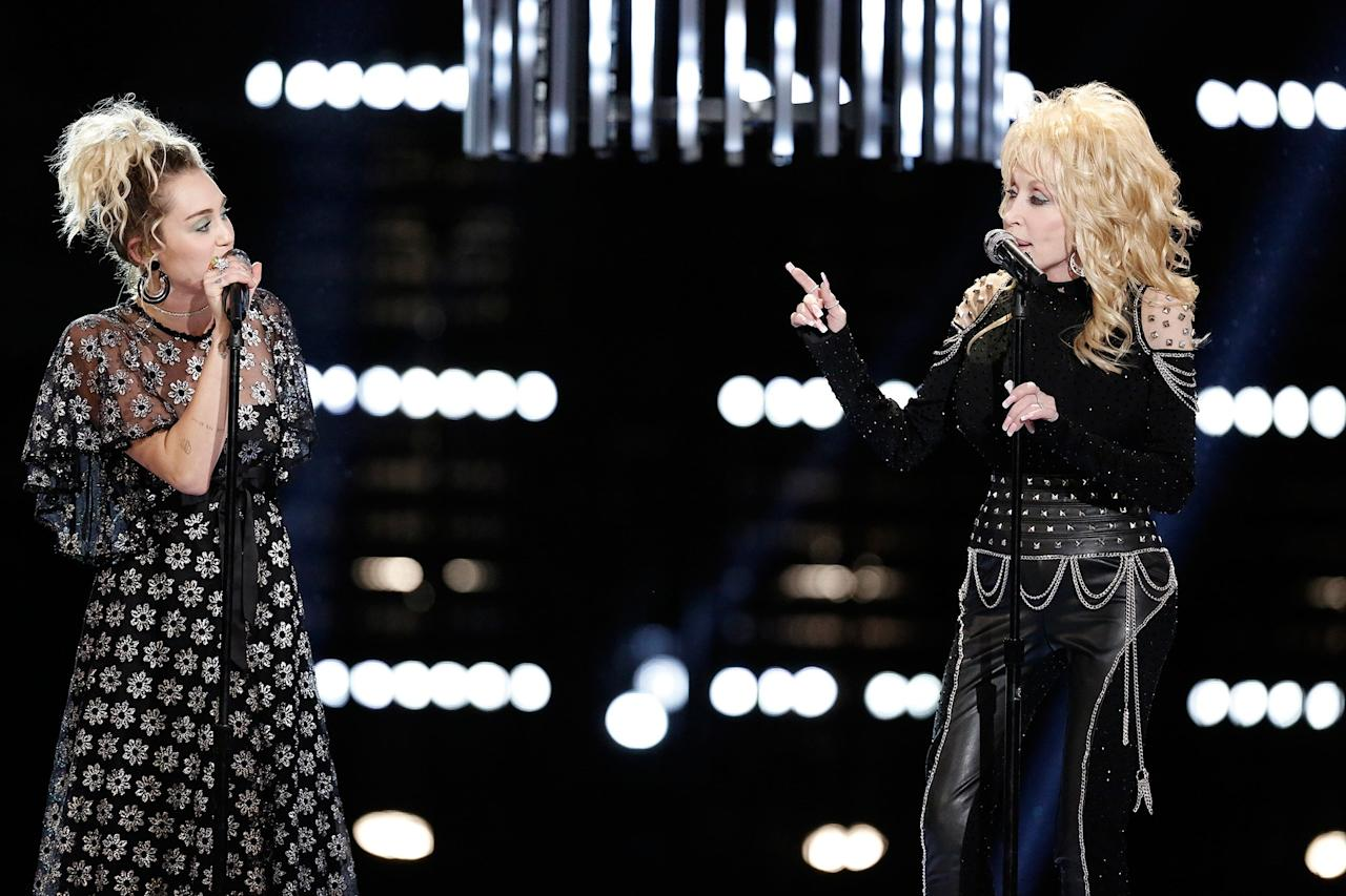 "<p>This godparent-godchild duo came to be after country crooner Billy Ray Cyrus first recorded his hit ""Achy, Breaky Heart"" in the early 1990s. In the process, he got to know the legendary Parton, and eventually made her his daughter's godmother. Since then, Parton has dubbed herself Miley Cyrus's ""fairy godmother"". The two have even <a rel=""nofollow"" href=""https://www.youtube.com/watch?mbid=synd_yahoostyle&v=f6H4r1kWqSM"">performed</a> Parton's hit ""Jolene"" together. ""I'm just real proud of her. She does not need my advice, but she's often asking for information and advice, and I tell her what I know, but I think the girl's doing all right without me,"" Parton <a rel=""nofollow"" href=""http://www.cbsnews.com/news/dolly-parton-im-miley-cyrus-fairy-godmother?mbid=synd_yahoostyle"">said</a> of her goddaughter, in a 2012 CBS interview.</p>"
