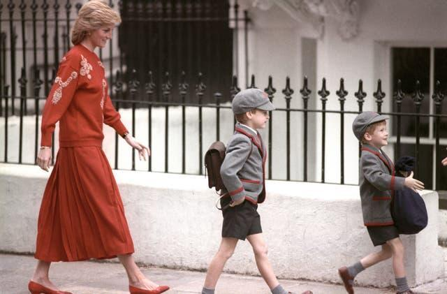 Diana with William and Harry in 1989