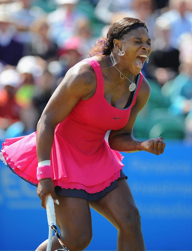 EASTBOURNE, ENGLAND - JUNE 15: Serena Williams of USA in action against Vera Zvonareva of Russia during day five of the AEGON International at Devonshire Park on June 15, 2011 in Eastbourne, England. (Photo by Mike Hewitt/Getty Images)