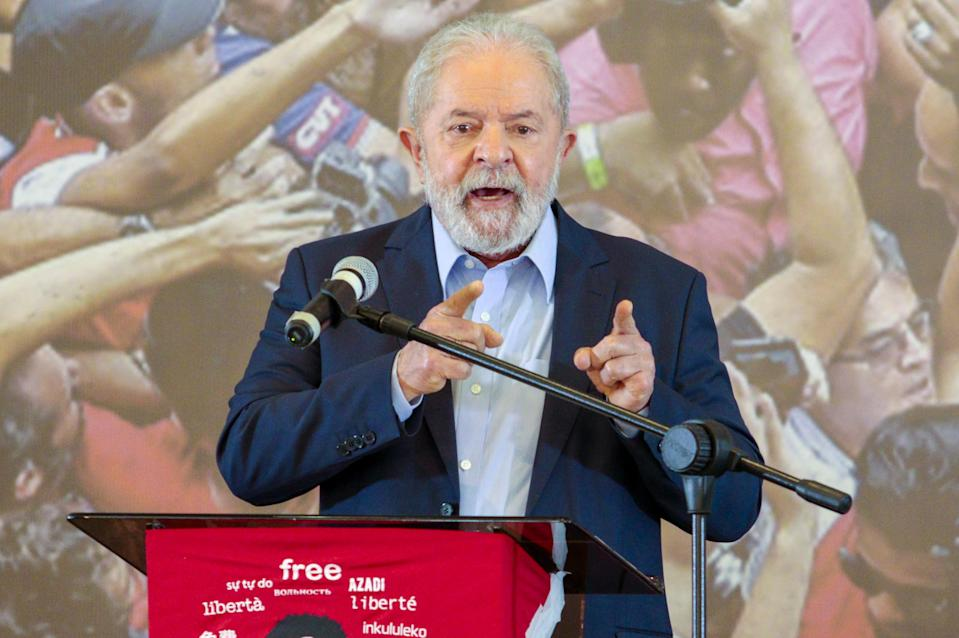 SAO PAULO, BRAZIL - MARCH 10: Former Brazilian President Lula da Silva holds a press conference at the metalworkers' union building in Sao Bernardo do Campo, in Sao Paulo, Brazil on March 10, 2021. (Photo by Cris Faga/Anadolu Agency via Getty Images)
