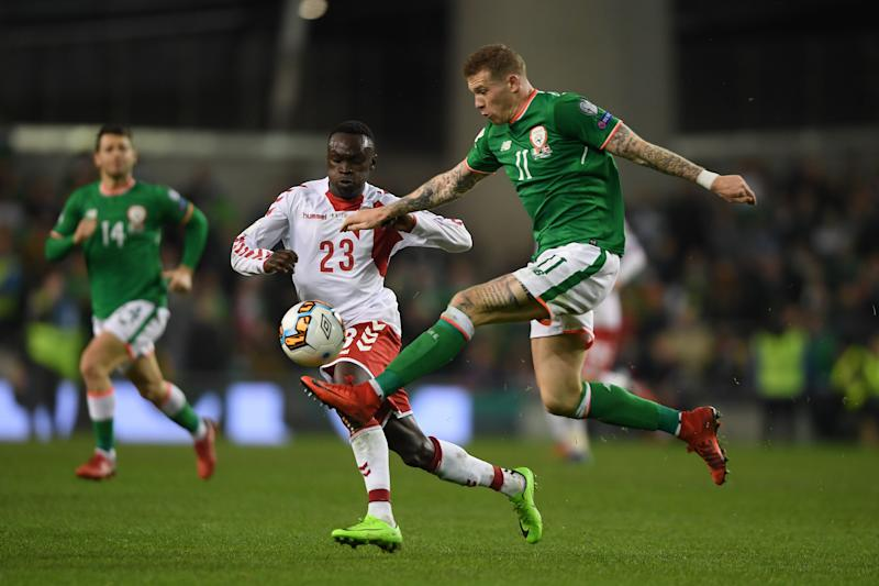 DUBLIN, IRELAND - NOVEMBER 14: James McLean of Ireland is challenged by Sisto Emirmija of Denmark during the FIFA 2018 World Cup Qualifier Play-Off: Second Leg between Republic of Ireland and Denmark at Aviva Stadium on November 14, 2017 in Dublin, Ireland. (Photo by Mike Hewitt/Getty Images)