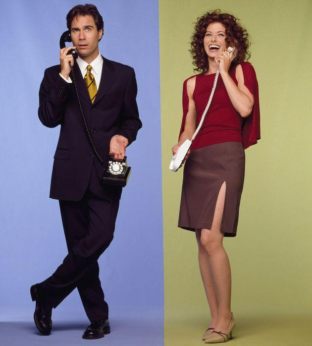 Eric McCormack and Debra Messing in promo shots for Will & Grace's first season (Photo: NBC via Getty Images)