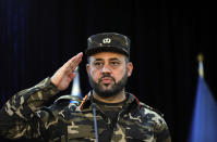 Gen. Ajmal Omar Shinwari, spokesperson for the Afghan armed forces salutes towards journalists during a press conference in Kabul, Afghanistan, Sunday, Aug. 1, 2021. Shinwari said Sunday in a press conference that three provinces located in south and western parts of Afghanistan are under critical security situation. (AP Photo/Rahmat Gul)