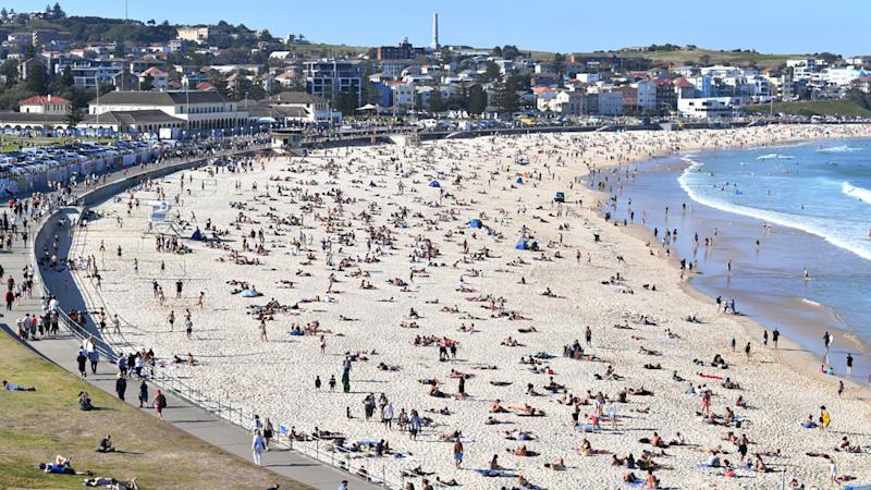 Crowds are seen at Bondi Beach as warm weather returns to the east coast of Australia in Sydney on August 30