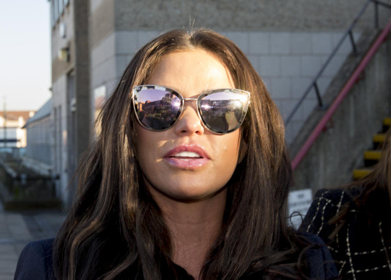 Katie Price outside Bexley Magistrates' Court following her drink driving trial where she was banned from driving for three months, adding to the ban from earlier this year for driving while disqualified. (Photo by Rick Findler/PA Images via Getty Images)
