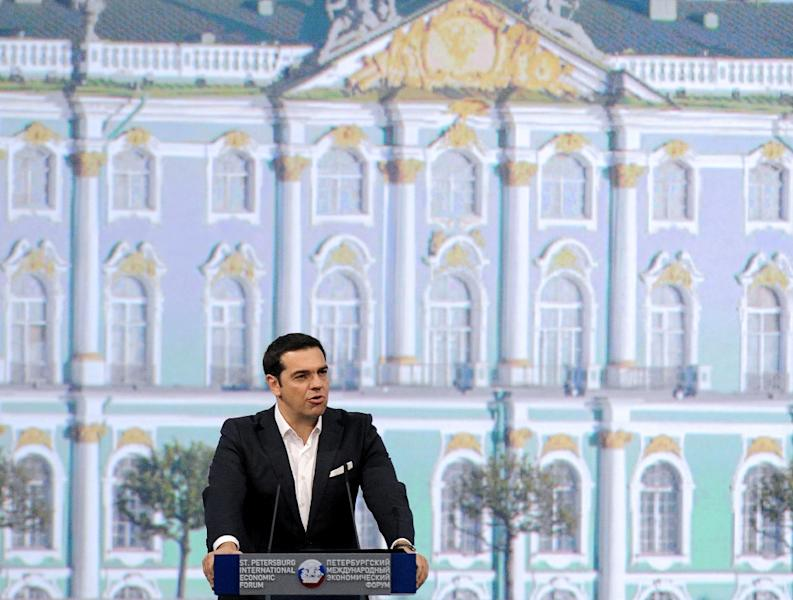 Greek Prime Minister Alexis Tsipras delivers a speech during a session of the St Petersburg International Economic Forum in Russia on June 19, 2015 (AFP Photo/Olga Maltseva)